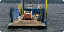 Shoreline Specialists on Lake Gaston - Work Boat